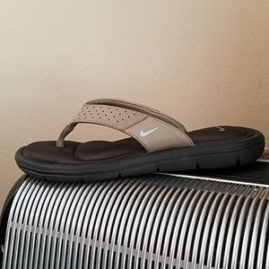 NIKE GREY/TURQ COMFORT FOOTBED THONG FLIP FLOPS